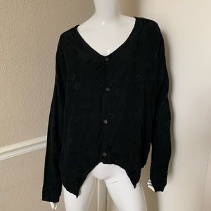 CP Shades NEW! Black Rayon Button Front Shirt S